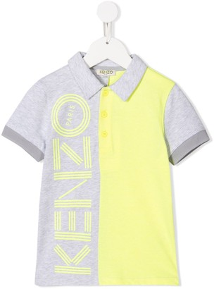 Kenzo Kids Colour Block Logo Print Polo Shirt