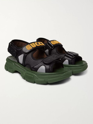 Gucci Leather And Mesh Sandals