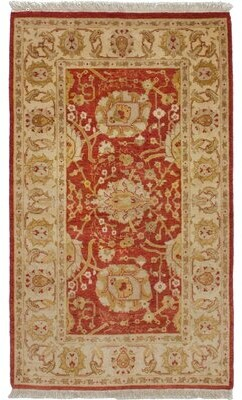 """Alegria Canora Grey One-of-a-Kind Hand-Knotted 3'1"""" x 5'3"""" Wool Red Area Rug Canora Grey"""
