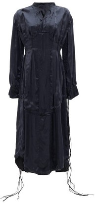 Jil Sander Tasselled-sleeves Silk Midi Dress - Navy