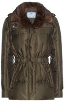 Prada Down Jacket With Fur Collar
