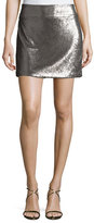 Halston Sequined Mini Skirt, Antique Silver