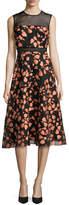 Lela Rose Fil Coupe Sleeveless Full-Skirt Dress, Shell/Black
