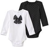 Baby Starters Baby Girl 2-pk. Foil Dot & Bow Bodysuits
