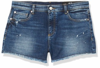 Ax Armani Exchange A|X Armani Exchange Women's Mid Blue Washed Comfort Shorts