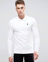 Asos Long Sleeve Muscle Pique Polo In White With Logo