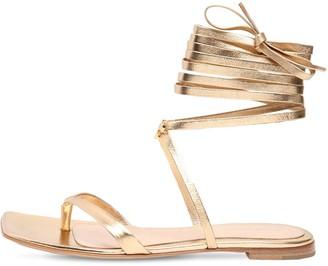 Gianvito Rossi 10mm Ribbon Metallic Leather Sandals