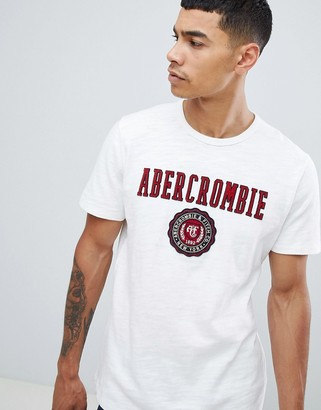 Abercrombie & Fitch tech elevated applique logo t-shirt in white