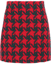 Gucci Houndstooth Wool-blend Mini Skirt - Red