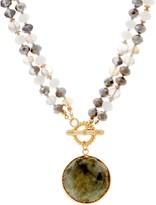 Susan Graver Goldtone Gemstone Drop Convertible Necklace
