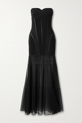 Thierry Mugler Strapless Paneled Stretch-jersey And Tulle Gown - Black