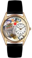 Whimsical Watches Women's C0420002 Classic Gold Casino Black Leather And Goldtone Watch