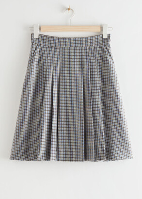 And other stories Pleated Wool Blend Mini Skirt