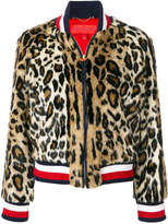 Tommy Hilfiger leopard print striped bomber jacket