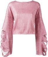 Aviu slit flared longsleeves blouse