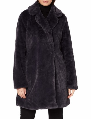 Yumi Women's Navy Faux Fur Coat