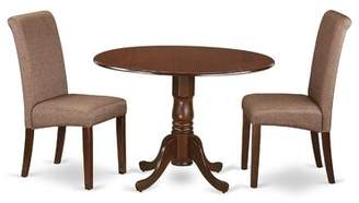 Charlton Home Pappalardo Small Table 3 Piece Drop Leaf Solid Wood Breakfast Nook Dining Set Charlton Home Table Color: Mahogany, Chair Color: Brown/Mahogany