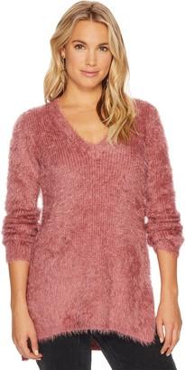 BB Dakota Women's Pam Eyelash Fuzzy Deep V Sweater
