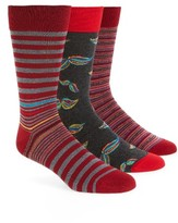 Bugatchi Men's 3-Pack Assorted Mercerized Cotton Blend Socks
