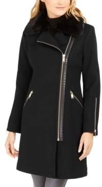 Michael Kors Michael Faux-Fur-Trim Asymmetrical Coat