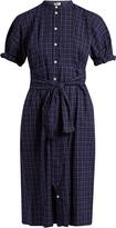 Sea Short-sleeved varsity-plaid cotton dress