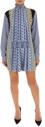 Prada Pleated Patchwork Mini Dress