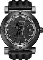 Harley-Davidson Men's Quartz Watch with Black Dial Analogue Display and Black Leather Strap 78B131