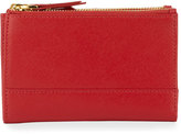 Neiman Marcus Leather Double-Zip Bi-Fold Wallet, Red