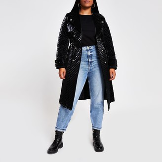 River Island Womens Plus Black quilted faux Leather belted Coat