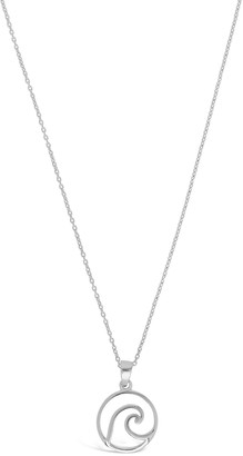 Sterling Forever Sterling Silver Open Circle Wave Pendant Necklace