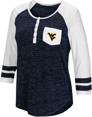 Colosseum Women's Heathered Navy West Virginia Mountaineers Inconceivable! Three-Quarter Sleeve Pocket Henley