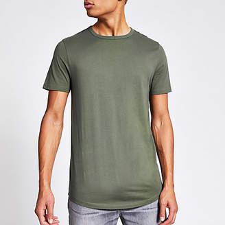 River Island Khaki curved hem longline T-shirt