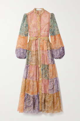 Zimmermann Brighton Belted Patchwork Paisley-print Silk-crepon Maxi Shirt Dress