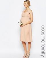 Asos WEDDING Drape Cold Shoulder Midi Dress