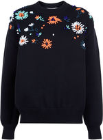 Victoria By Victoria Beckham Black Flower Embroidered Knit Sweater