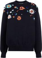 Victoria Victoria Beckham Black Flower Embroidered Knit Sweater