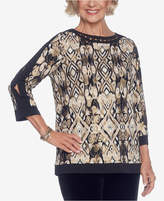 Alfred Dunner Deck the Halls Embellished Printed Split-Sleeve Top