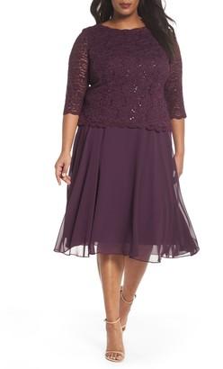 Alex Evenings Mock Two-Piece Tea Length Dress (Plus Size)