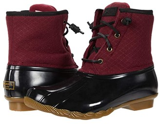 Sperry Saltwater Emboss Wool (Cordovan/Black) Women's Rain Boots