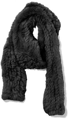 Yves Salomon Knitted Rabbit Scarf in Noir
