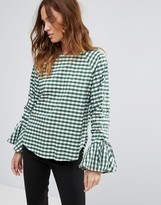Warehouse Ruched Sleeve Gingham Top