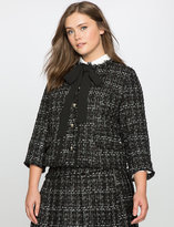 ELOQUII Plus Size Studio Tweed Tie Neck Jacket