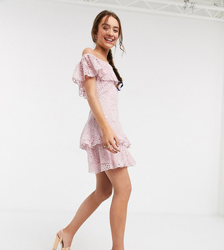 Little Mistress Petite lace ruffle mini dress in blush