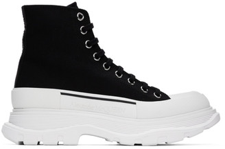 Alexander McQueen Black Canvas Tread Slick Platform High Sneakers