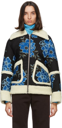 Dries Van Noten Navy Floral Embroidered Jacket