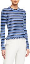 Derek Lam 10 Crosby Lilika Striped Ruffle Sweater