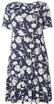 Evans Grey And Navy Blue Floral Fit & Flare Dress