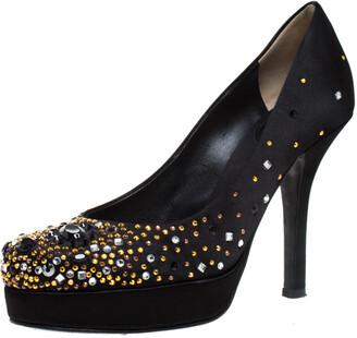 Dolce & Gabbana Black Crystal Embellished Satin Platform Pumps Size 38