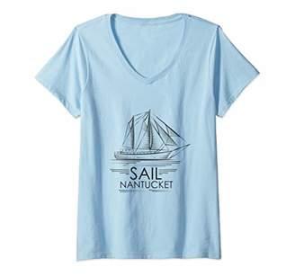 Womens Sail Nantucket Sailing Sail Boat Illustration Sailor V-Neck T-Shirt