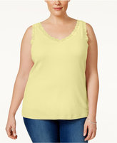 Karen Scott Plus Size Lace-Trim Tank Top, Only at Macy's